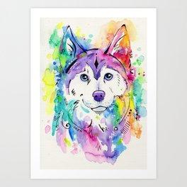 Happy - Siberian Husky Watercolor Art Art Print