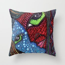 Hot and Cold Green Eyes Throw Pillow
