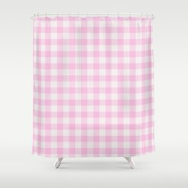 Blush pink white gingham 80s classic picnic pattern Shower Curtain
