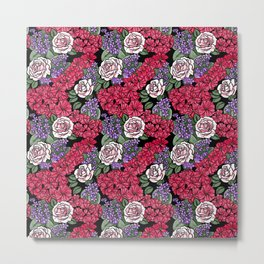 Chevron Floral Black Metal Print