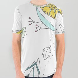 Whimsical Birds & Worm All Over Graphic Tee