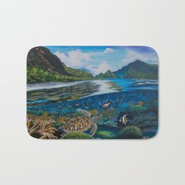 Tropical seascape and wildlife Bath Mat