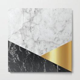 White Marble Black Granite & Gold #944 Metal Print