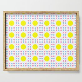 new polka dot 10 - Pink, blue and yellow Serving Tray