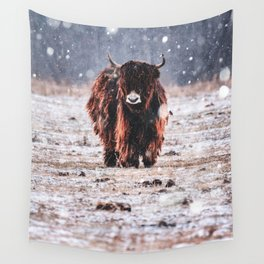 Bison in the snow Wall Tapestry