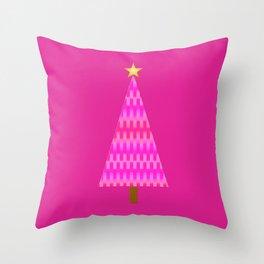 Fuchsia Pink Ombre Retro Modern Christmas Tree Throw Pillow