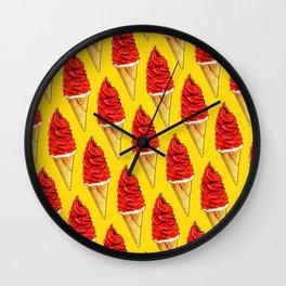 Ice Cream Pattern - Cherry Wall Clock
