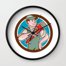 Plumber Pointing Monkey Wrench Circle Cartoon Wall Clock