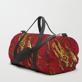 Chic Elegant Fire Red Ombre Glitter Marble Duffle Bag