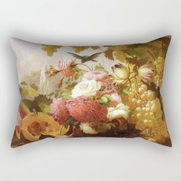 Still Life With Roses And Wine Glasses 1855 By Thomas Hill | Reproduction Rectangular Pillow