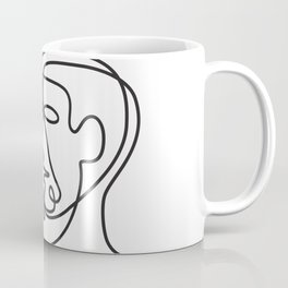 Man and Dog Face Side Continuous Line Coffee Mug