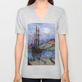 Tall Ship in the Moonlight Unisex V-Neck