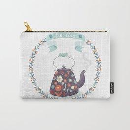 Tea Time Floral Tea Kettle Carry-All Pouch