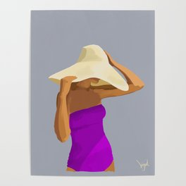 At the Beach: Purple suit Poster