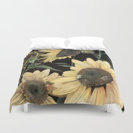 Sunflowers on Dark Background Duvet Cover