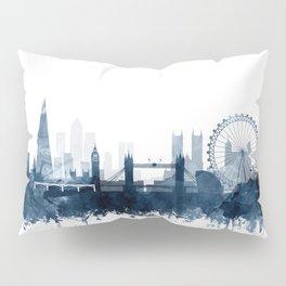 London City Skyline Blue Watercolor by zouzounioart Pillow Sham