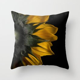 Backside of Sunflower Brush Strokes Digital Artwork Throw Pillow