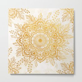 Queen Starring of Mandala-Gold Sunflower I Metal Print