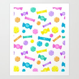 Pastel Rainbow Candy Shop Pattern Art Print
