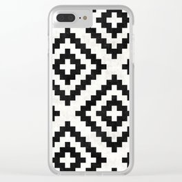 Urban Tribal Pattern 18 - Aztec - Black and White Concrete Clear iPhone Case