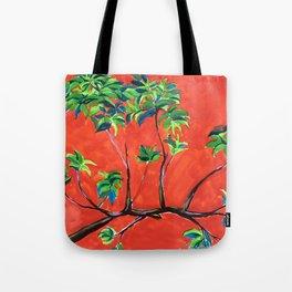 tree branch on orange sky painting Tote Bag