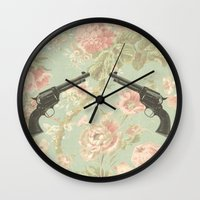 guns Wall Clocks featuring Guns & Flowers by fyyff