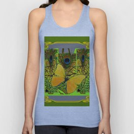 GREEN ART NOUVEAU BUTTERFLY PEACOCK PATTERNS Unisex Tank Top