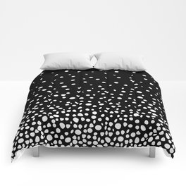 White Polka Dot Rain on Black Comforters