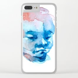 Blue and Red Portrait Clear iPhone Case