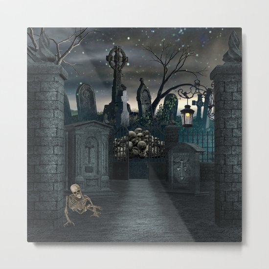 Graveyard #1 * Halloween Churchyard Scary Spooky Skeleton Tombstone Creepy Metal Print