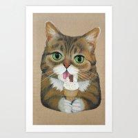 lil bub Art Prints featuring Lil Bub - famous cat by PaperTigress