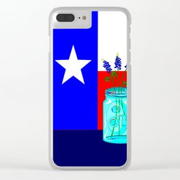 A Texas Flag and Blue Bonnets in a Jar Clear iPhone Case