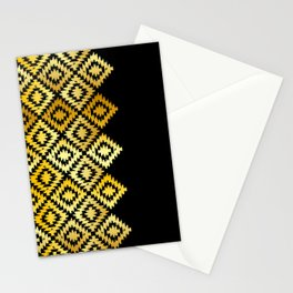Turkish carpet gold black. Patchwork mosaic oriental kilim rug with traditional folk ornament Stationery Cards