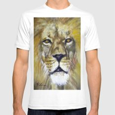 Title: Mesmerizing Lion King Mens Fitted Tee MEDIUM White
