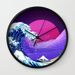 Synthwave Space: The Great Wave off Kanagawa #2 Wall Clock