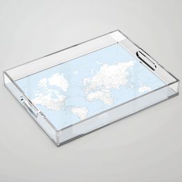 World map, highly detailed in light blue and white, square Acrylic Tray