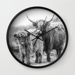 Scottish highland cattle mother and child in black and white Wall Clock