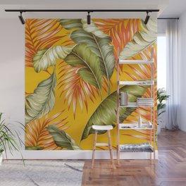 HAWAIIAN GARDEN TROPICAL LEAVES   golden yellow orange Wall Mural