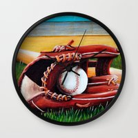 baseball Wall Clocks featuring Baseball by A Calcines