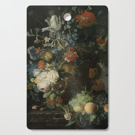 Jan van Huysum - Still life with flowers and fruits (1721) Cutting Board
