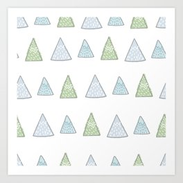 Hand Drawn Triangles Tree  Art Print