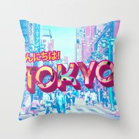 tokyo Throw Pillows featuring Tokyo by nicole martinez