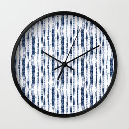 Shibori Stripes 2 Indigo Blue Wall Clock