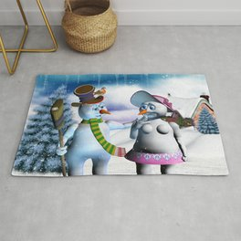 Funny, cute snowman and snow women Rug