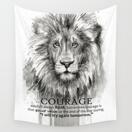 Lion Courage Motivational Quote Watercolor Painting Wall Tapestry