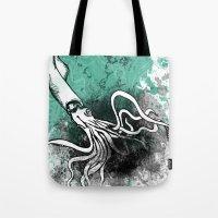 squid Tote Bags featuring Squid by Kat Aviles