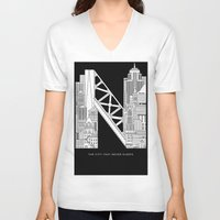nyc V-neck T-shirts featuring NYC  by Robert Farkas