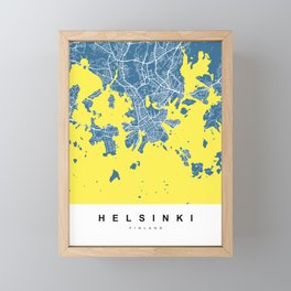 Helsinki Map | Blue & Yellow | More Colors, Review My Collections Framed Mini Art Print