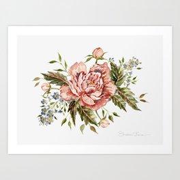 Pink Wild Rose Bouquet Art Print