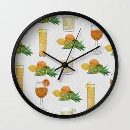 Citrus Cocktails pattern Wall Clock